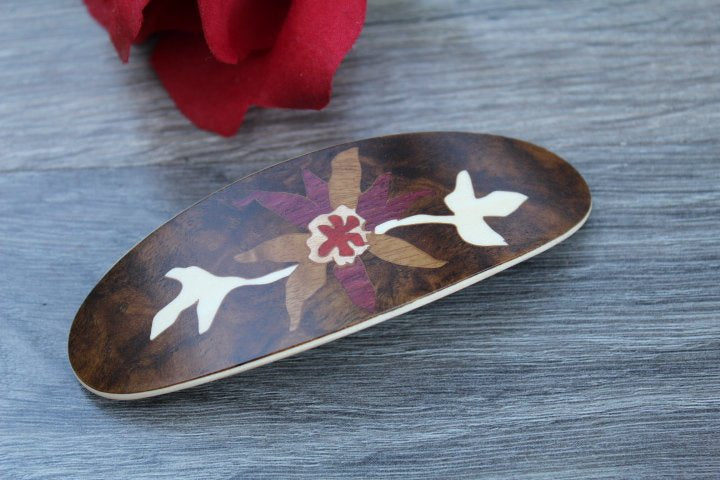 French Hair Clip, Hair Clip Barrette, Women hair accessories, Luxury French Barrette, Wood Rectangle Handmade in USA