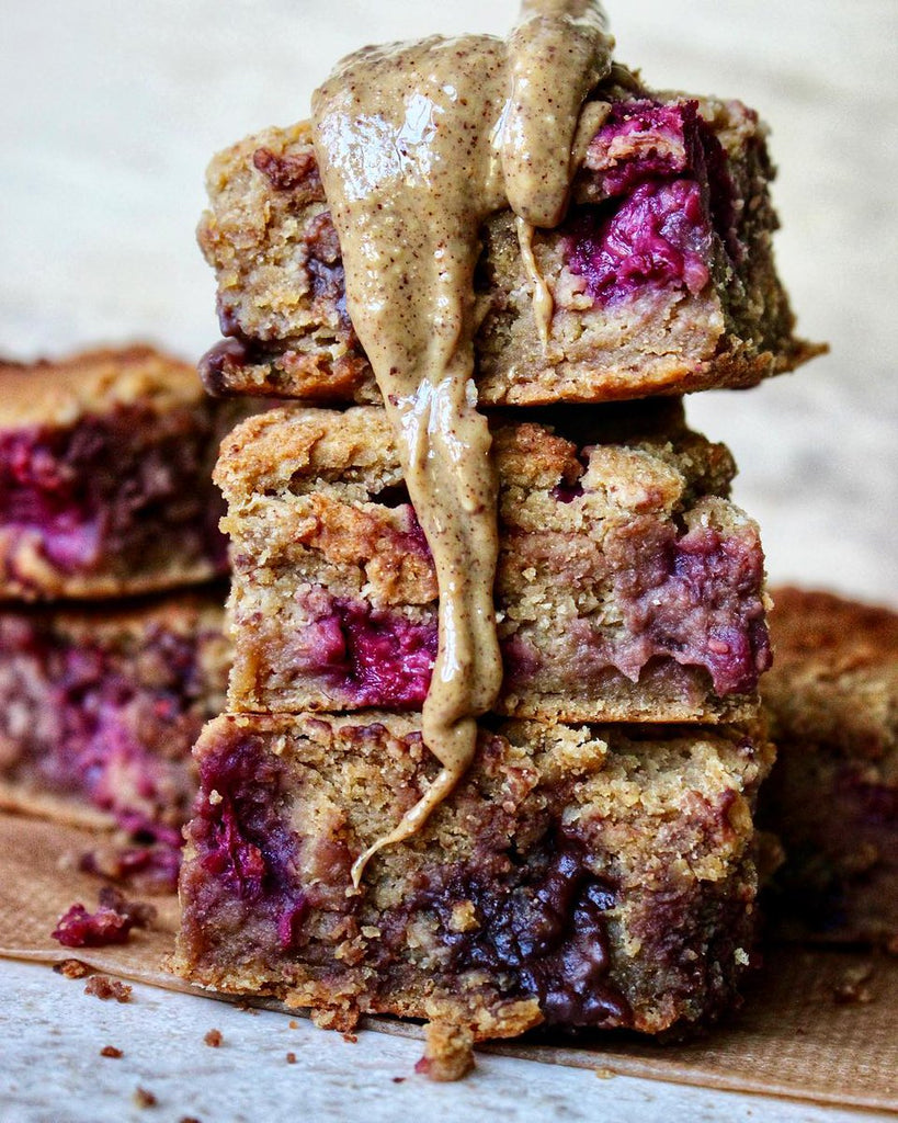 Vegan Chocolate Chip Raspberry Blondies