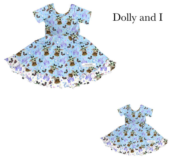 Baby Yoda at the Best Place on Earth Dolly & I Twirl Dress