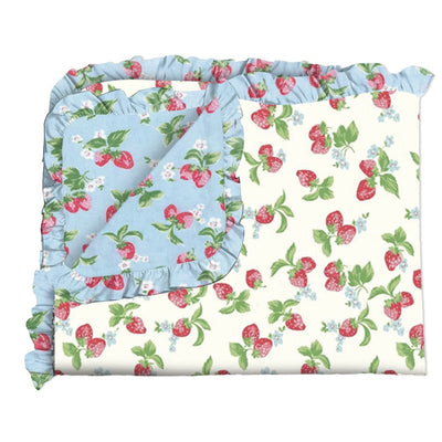 PRE-ORDER EXTRAS Blue Strawberries & Cream Blanket
