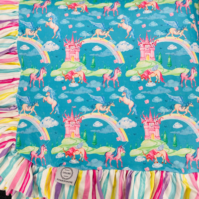 My Unicorn & Castles Blanket (Ready to ship)