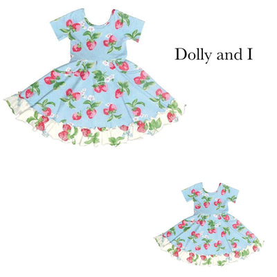 PRE-ORDER EXTRAS Blue Strawberries & Cream Dolly & I Twirl Dress