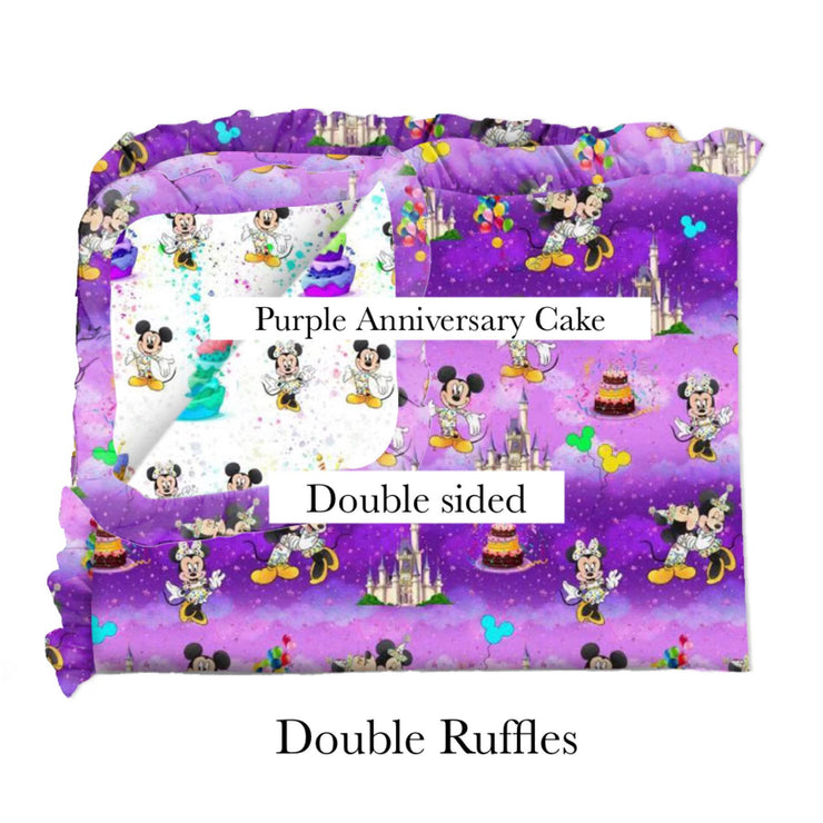 Purple Anniversary Cake Blanket-Double Sided