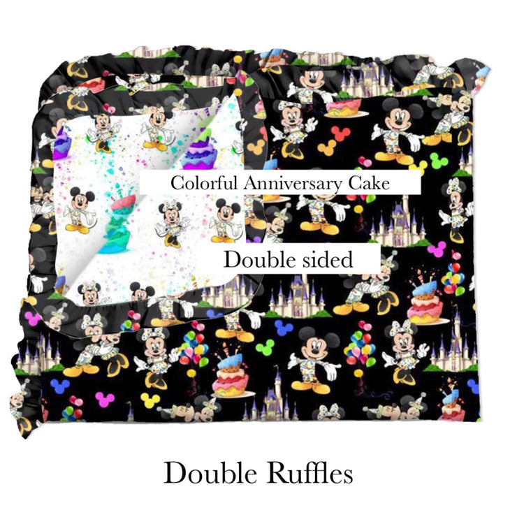 Colorful Anniversary Cake Blanket-Double Sided-Double Ruffles