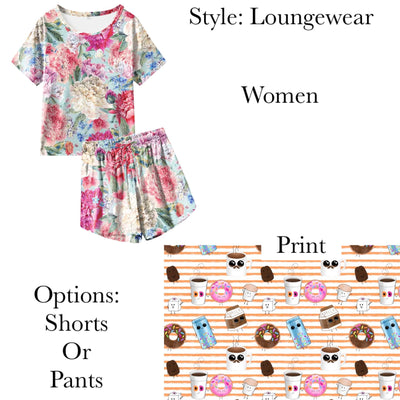 Fun Dunkin Women's Shorts OR Pants PJ Set