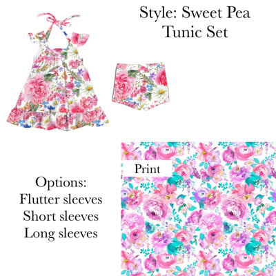 Swirly Pink Garden Sweet Pea Tunic Set-3 Options