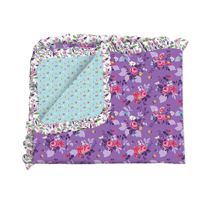 Blue Ditsy and Purple Garden Double Sided Blanket
