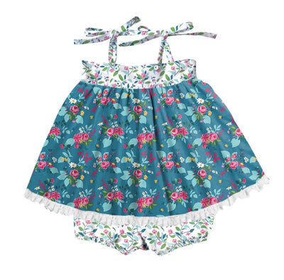 Emily in Blue Blossom and Teal Garden Set