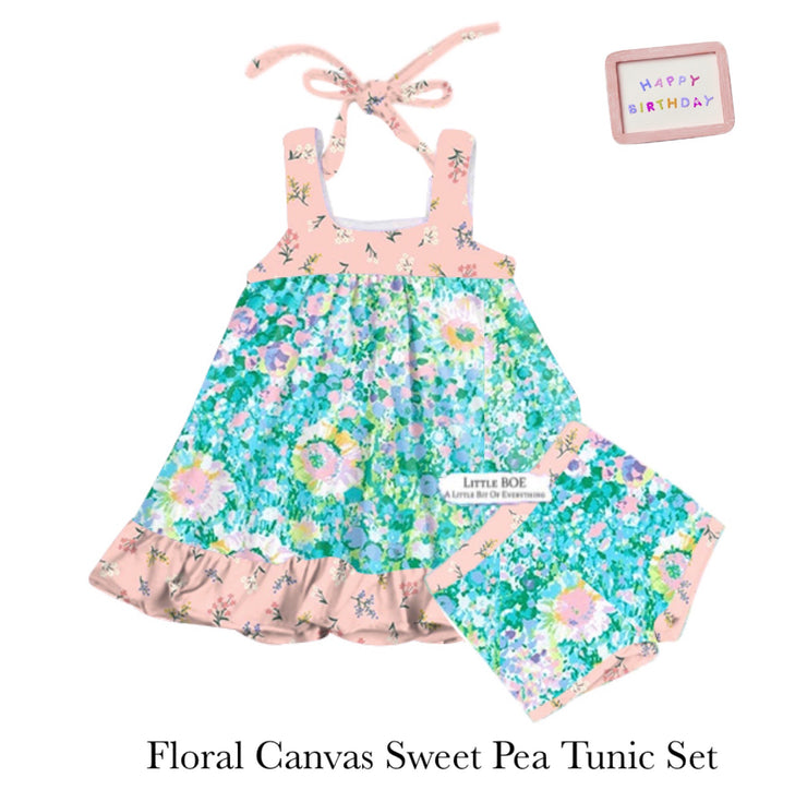 Floral Canvas Sweet Pea Tunic Set