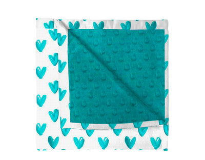 Flat edges Hearts of Teal Blanket