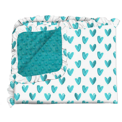 Hearts of Teal Blanket