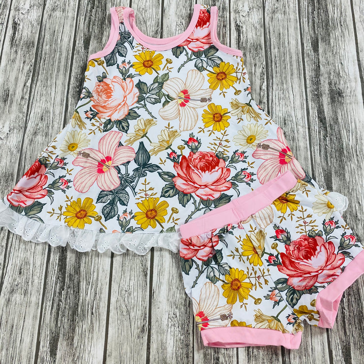 Girls Pink Wildflowers Lazy Day Set (Ready to Ship)