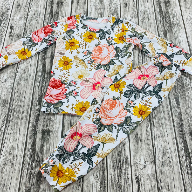 Unisex Pink Wildflowers Long Sleeves PJ Set (Ready to Ship)