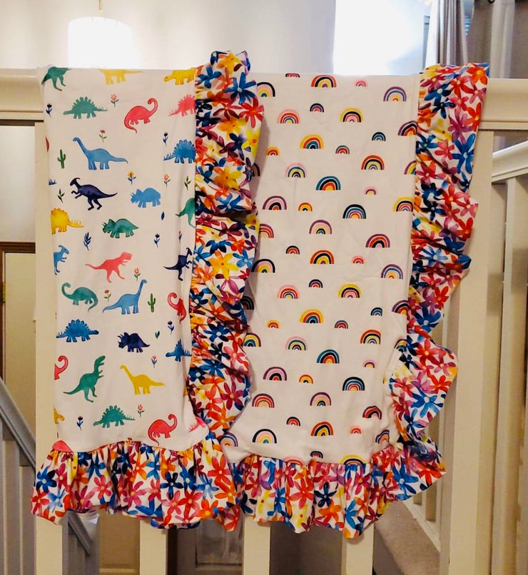 TODDLER SIZE Dinosaurs, Rainbows and Flowers Blanket (Ready to ship and Extras)