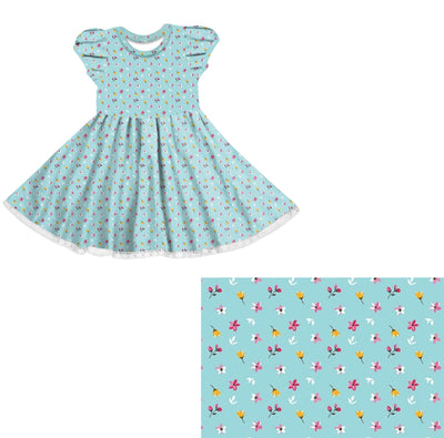 Blue Ditsy floral Twirl Dress