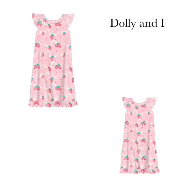 Pink Strawberry Bow Dolly & I Nightgown