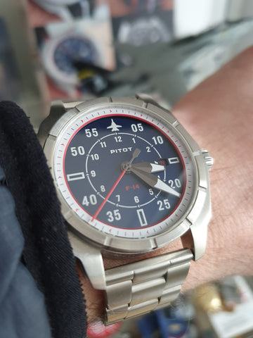 F-14 Tomcat watch with stainless steel bracelet