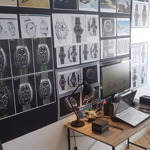 Moodboard and research pitot watches