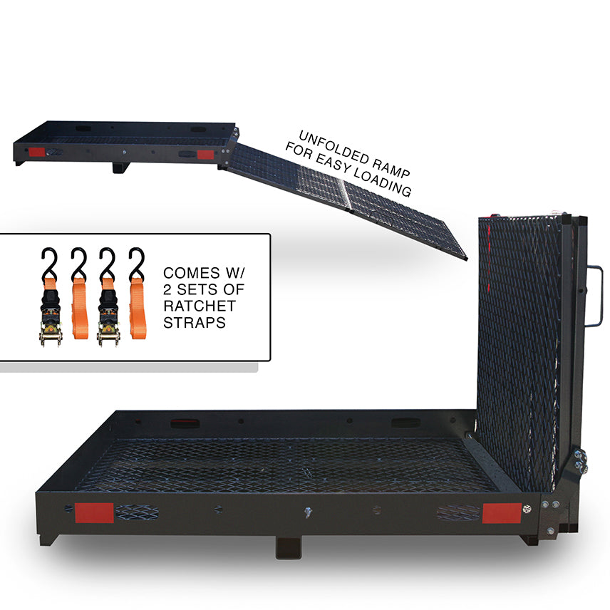 Foldable Cargo Carrier & Loading Ramp With Ratchet Straps And Hitch Stabilizer