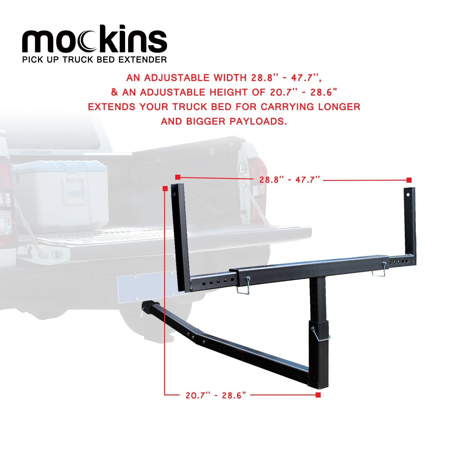 Pick Up Truck Bed Extender | Ratchet Straps | - Black