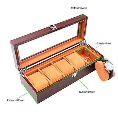 6 Slots Wood Watch Box Exquisite and Durable
