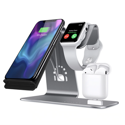 Qi Wireless Charger Dock Station for iPhone iWatch and Airpods