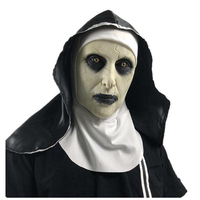 The Nun Latex Mask With Headscarf Crucifix Terror Face Mask Halloween