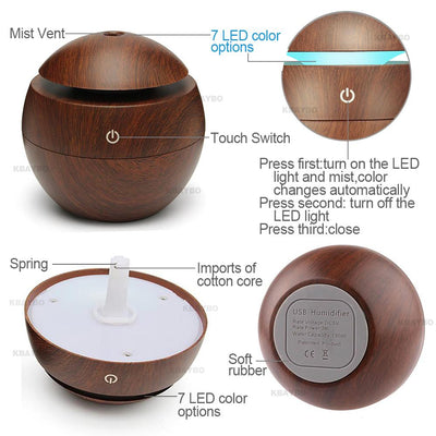 USB Aroma Essential Oil Diffuser Ultrasonic Cool Mist Humidifier Air Purifier 7 Color Change LED Night light for Office or Home
