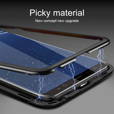 Magneto Magnetic Adsorption Metal Glass Case for Samsung Galaxy S8 S9 Plus S7 Note 8
