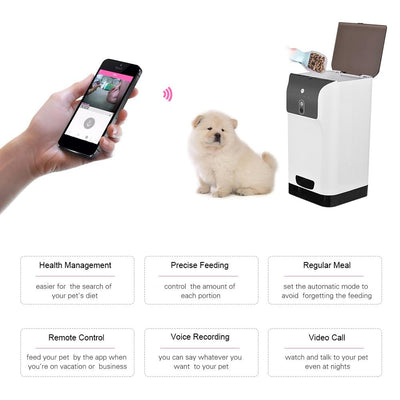 Automatic Wifi Pet Feeder APP Food Dispenser with Camera Compatible IOS/Android