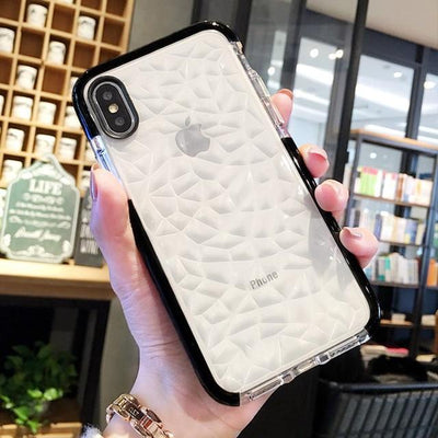 Shockproof Shiny Diamond Grid Mobile Phone Case for iPhone X XR XS Max 7 8 6 6s Plus
