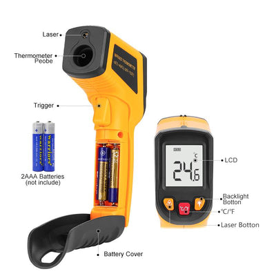 Laser Thermometer - LCD Display IR Infrared Digital C/F Selection Surface Temperature
