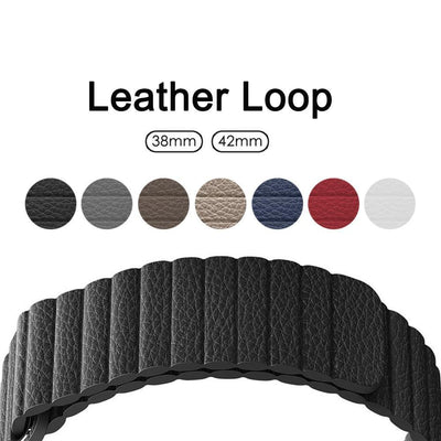 Leather Loop Watchband for iWatch Apple Watch 38mm 40mm 42mm 44mm Series 4 3 2 1
