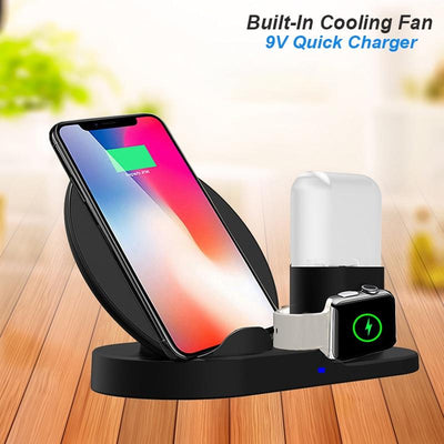 QI Wireless Fast Charger 3 In 1 Stand For IPhone AirPods Apple Watch