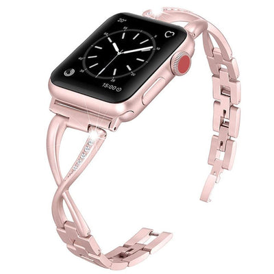 GYKZ Women Watch Band For Apple Watch Bands 38mm 42mm 40mm 44mm Diamond Stainless Steel Strap For iwatch Series 4 3 2 1 Bracelet