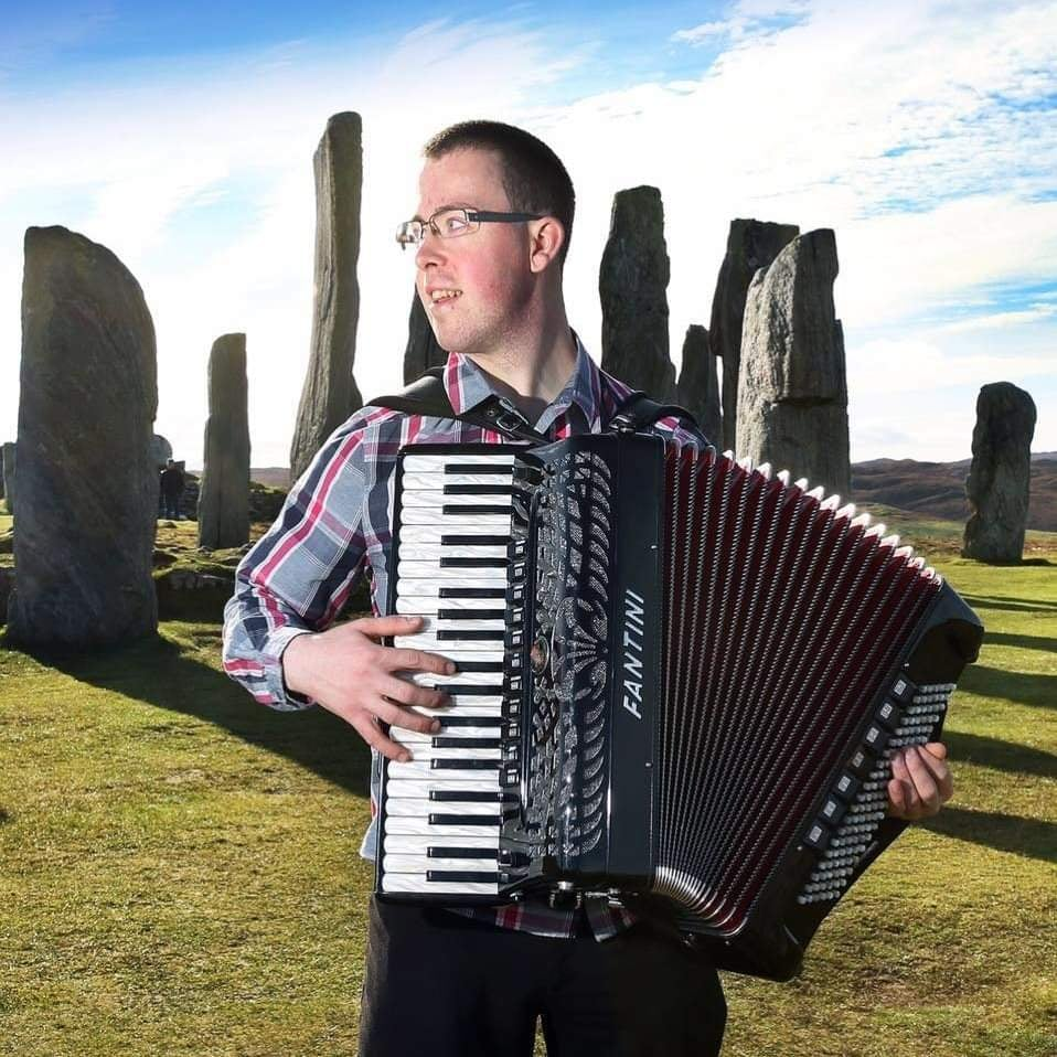 Accordion player Graham MacIllinnein from the Isle of Lewis.