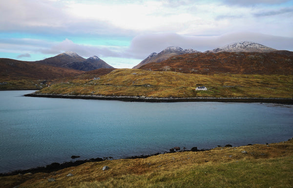 Snow capped north Harris hills.