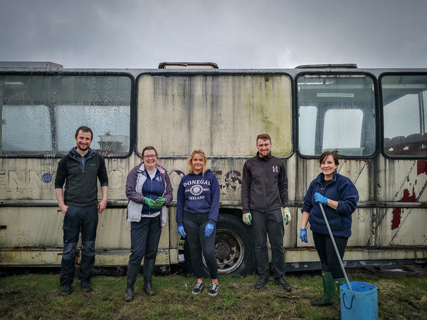 Distillery staff Phil, Sarah, Harry and Shona volunteering on a recent community project