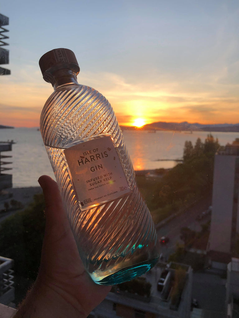 Scott Mackay enjoys an Isle of Harris Gin at sunset in Vancouver, BC.
