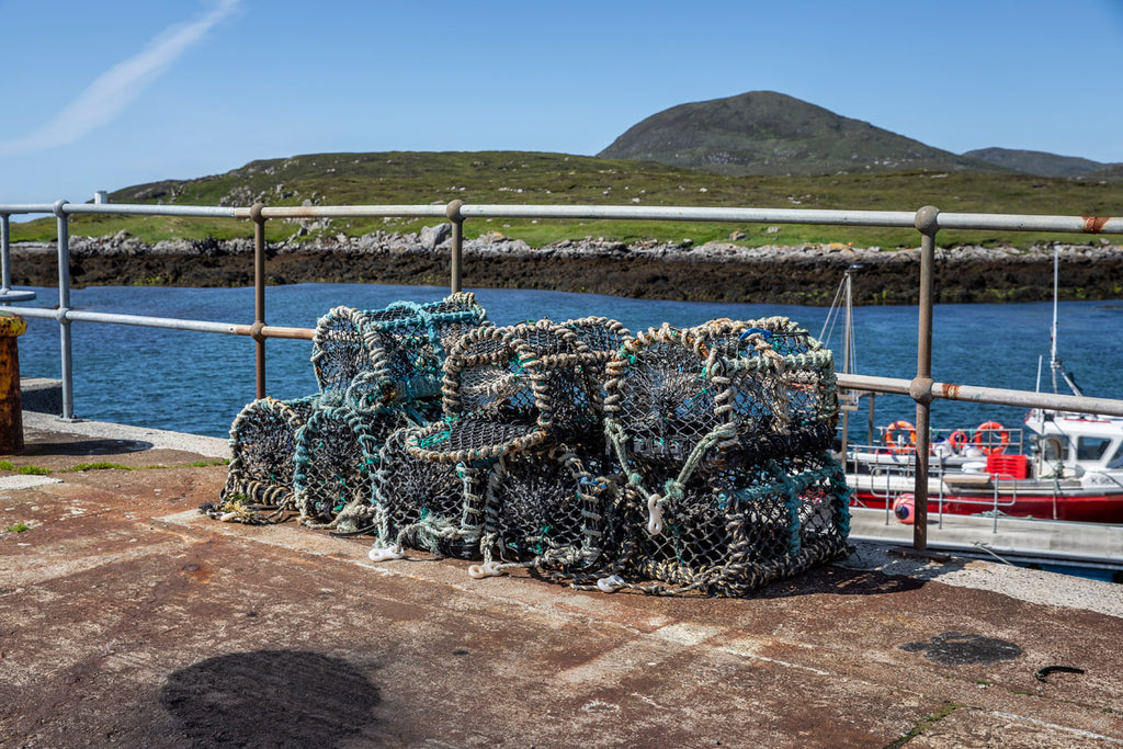 Pots and creels, ready to return to sea for a fresh catch.