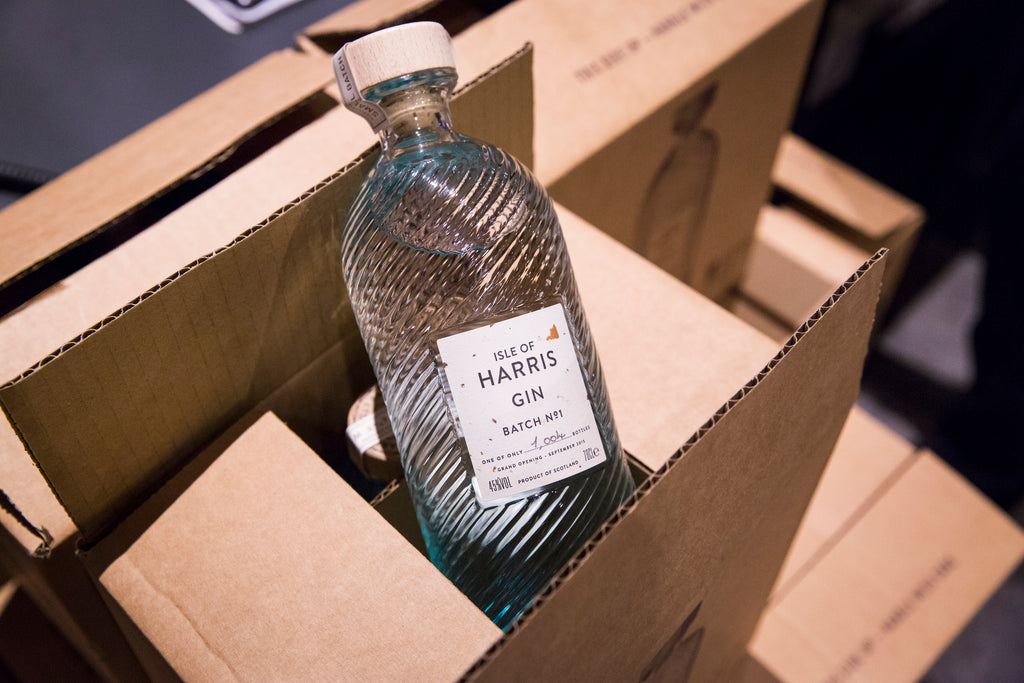 The first batch of Isle of Harris Gin, just 1,004 bottles.