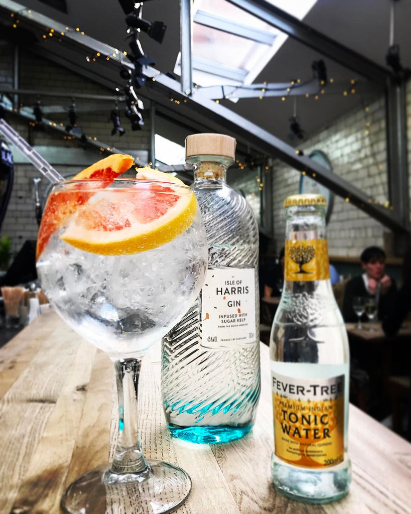 Our Isle of Harris Gin served in the attic bar upstairs.