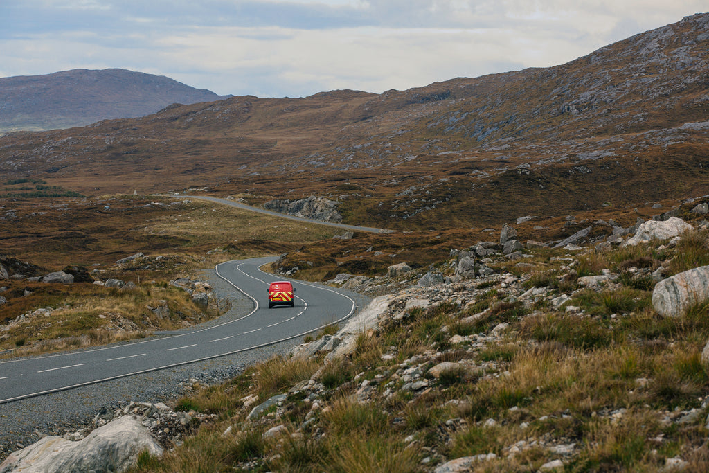 Deliveries on a long and winding island road, Isle of Harris.