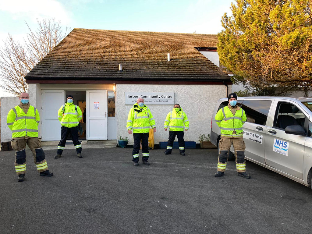 Local Fire & Rescue volunteers help with COVID vaccinations in Tarbert, Isle of Harris.