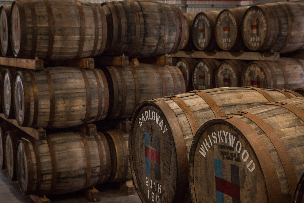 Some of the private casks in our on-site warehouse.