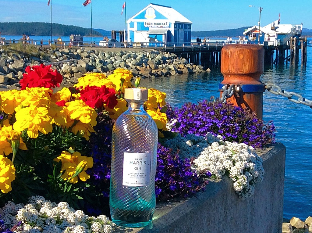 Maggie Mackay shares her Isle of Harris Gin by the shores of Sydney in Vancouver Island, BC.