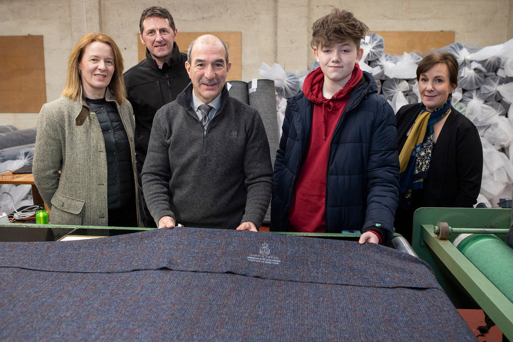 Young Scott and the Harris Tweed Project team.