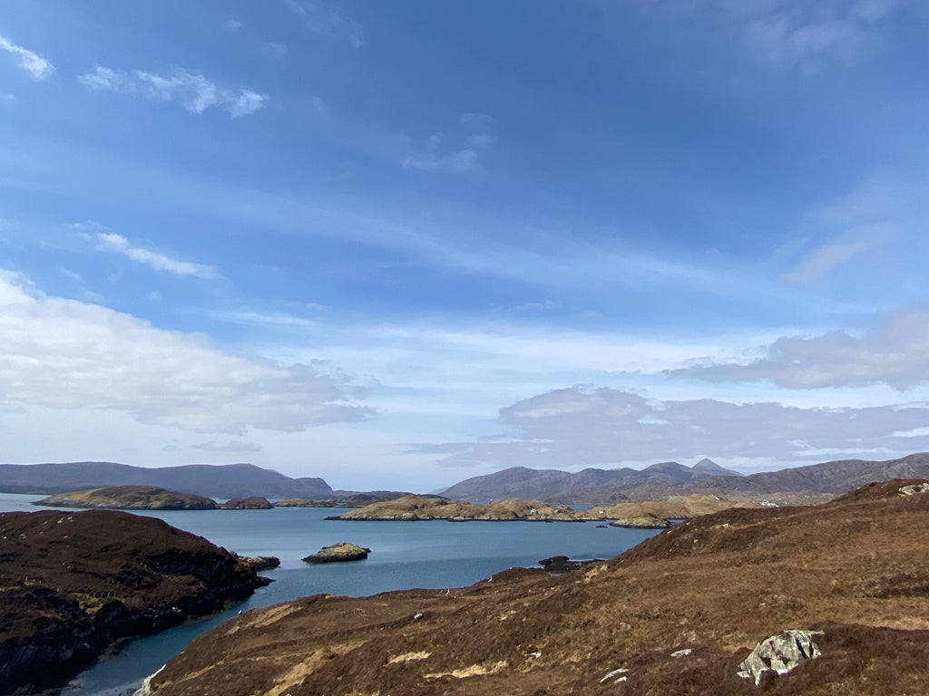 The view from Scalpay across East Loch Tarbert and towards the distillery.