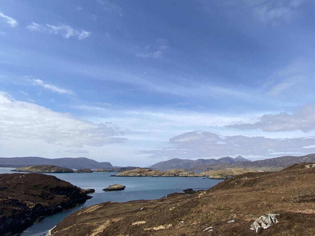 Looking across to our distillery in Tarbert from the Isle of Scalpay.