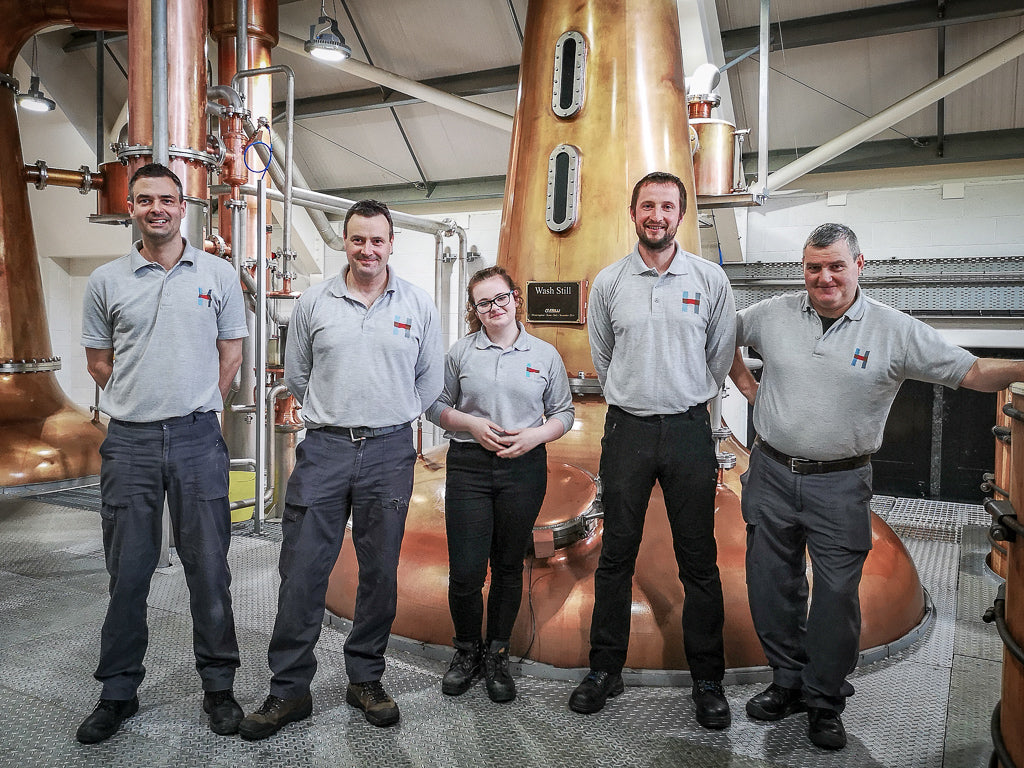 Some of our 7-strong distilling team including Phil and apprentice Rebekha.